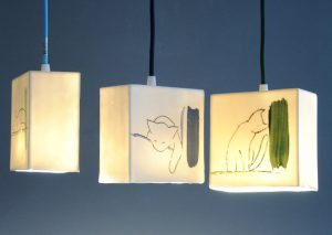 luminaires porcelaine de la Collection Chats